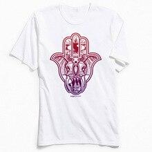цена на Unique T-shirt Hamsa Elephant TShirt for Men Slim Fit Summer Round Neck Pure Cotton Short Sleeve T Shirts Casual Tops Tee Shirt