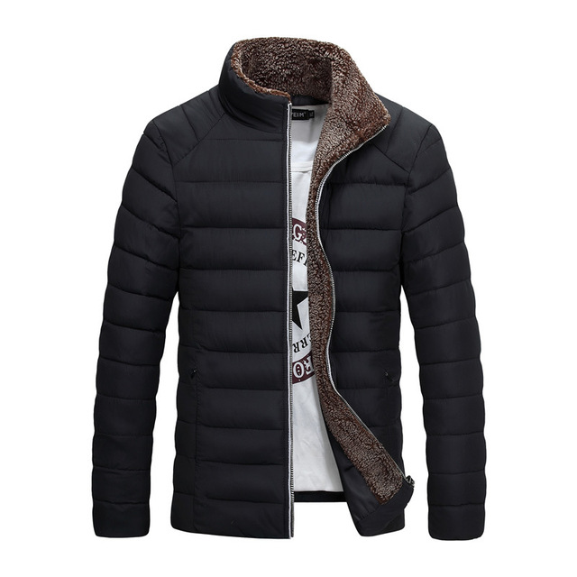 New Trend Black Winter Jacket Men Doudoune Homme Hiver 2017 Mens Fashion  Stand Fake Cashmere Collar 7e9786a3b45