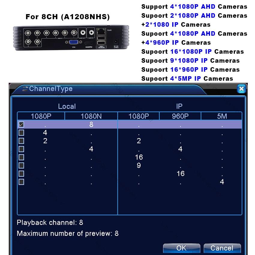 Smar Mini Hybride 4CH 8CH AHDNH 1080N AHD DVR 5 DANS 1 AHD CVI TVI CVBS 1080 p Sécurité DVR NVR Pour AHDM AHD Caméra 5MP IP Caméra - 4