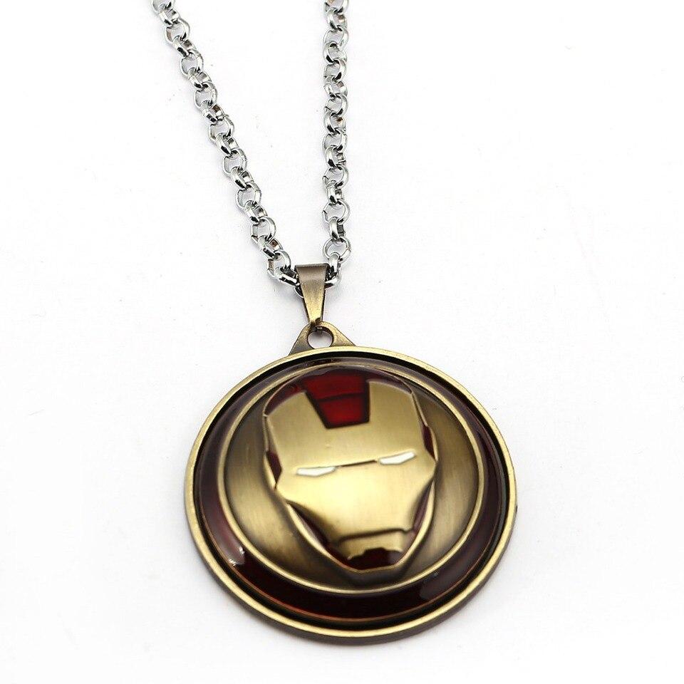 - 7 Colors Iron Man Necklace The Avengers Rotatable Pendant Fashion