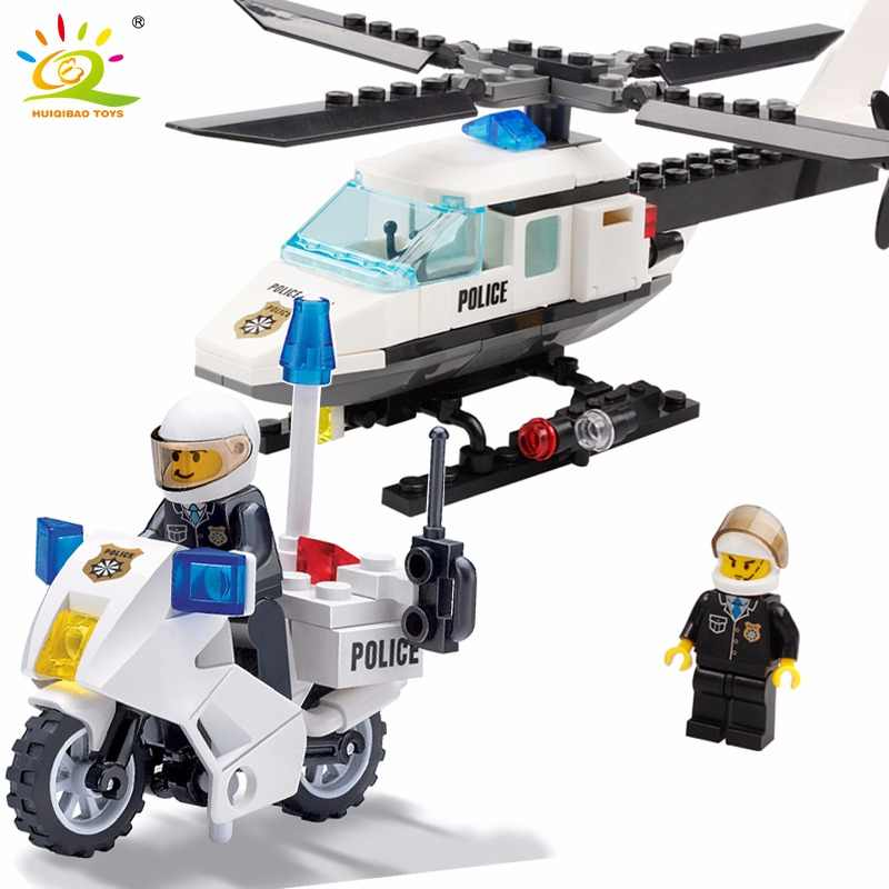 HUIQIBAO City Police Helicopter Airplane Blocks Bricks Building Block Compatible Legoingly Educational Gift Toys For Children