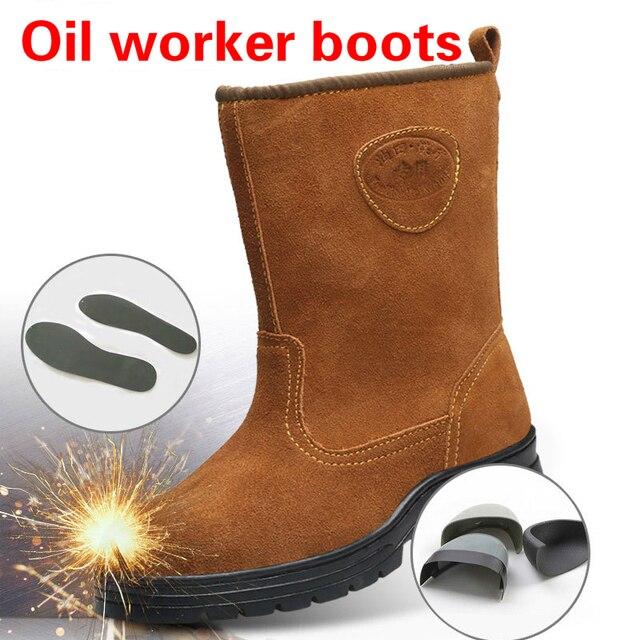 Kış deri yüksek güvenlik ayakkabıları önlemek için smashing delinme sıçrama geçirmez emek Koruyucu ayakkabı botları erkekler