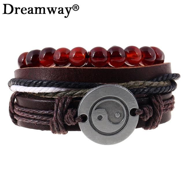 3pcs Set Retro Rope Leather Bracelet Men Hand Woven Taiji Yin Yang Charm For
