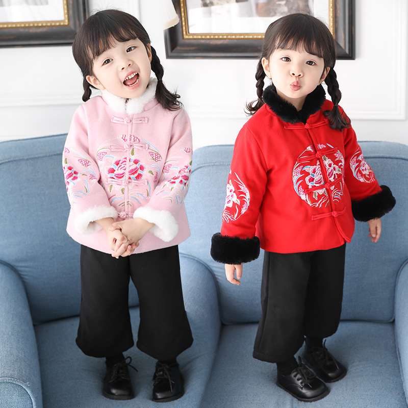 Anlencool Fashion Winter Chinese Style Girls Thin Clothing Embroidery 2-piece Girls 1-7 years Tang Retro Style girls Clothes set