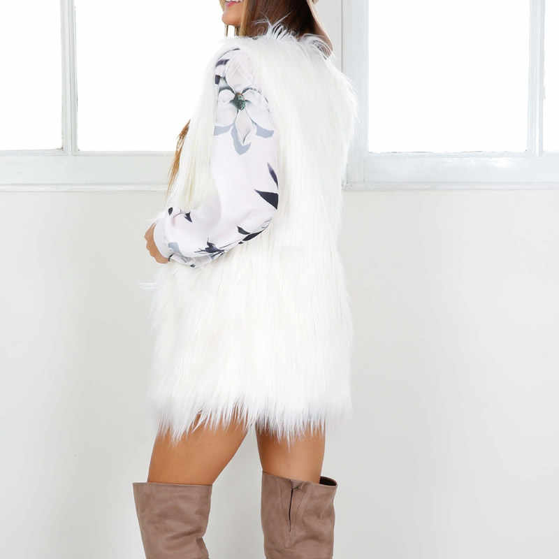 Puszysta kamizelka z futra biała kamizelka ze sztucznego futra 2019 jesienno-zimowa damska długa futrzana kurtka płaszcz miękki ciepły bez rękawów Plus rozmiar znosić parki