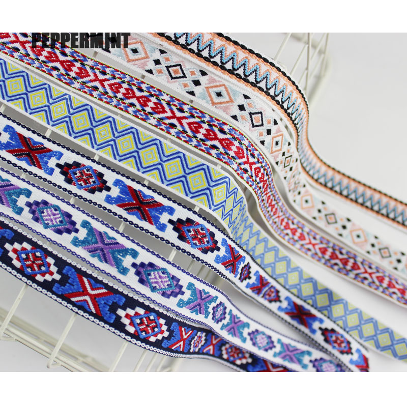 2Yard 2cm Ethnic Ribbon Embroidery Trim Boho Lace Sewing Accessories Embroidered Fabric Rope Deco Trim