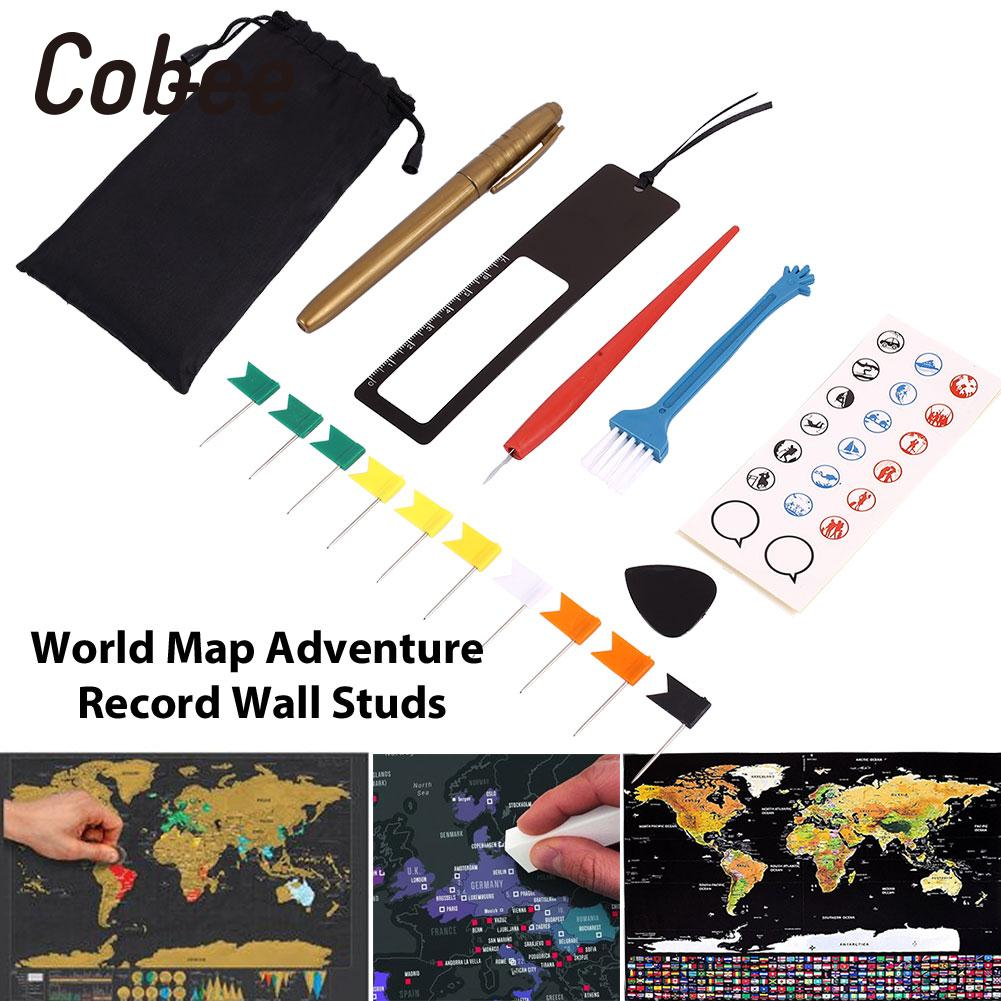 8pcs/Bag Diy Scratch Pen Set Markers Stickers For Scratch Map Home Travelers Premium Novelty