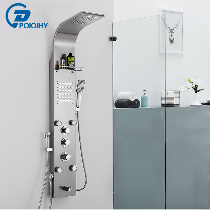 Thermostatic Rain Waterfall Shower Panel Faucet Body Massage Jets Shower Faucet Brass Tub Spout Shower Column Tower gold finish shower panel waterfall shower column w jets tub spout brass hand shower shower panel
