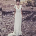Laure de Sagazan Wedding Dress Vintage Lace Bohemian Bridal Gowns Sexy Backless V Neck Beach Wedding Dresses Boho 2017 Casamento