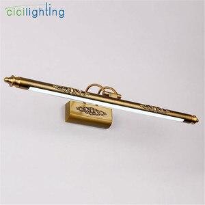Image 3 - 110V 220V L50cm L70cm L90cm Amerikanischen retro bronze lampe led spiegel licht bad schrank eitelkeit make up consmetic leuchten