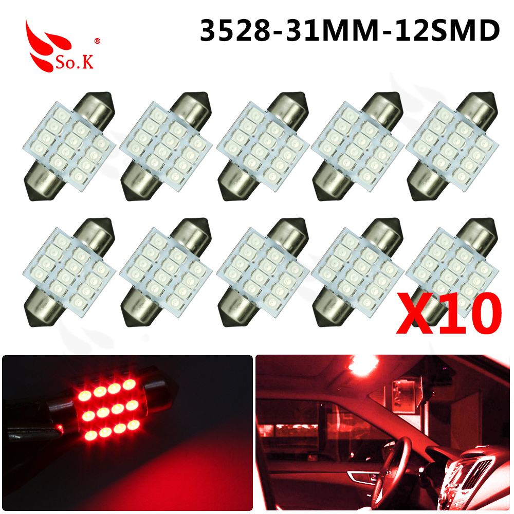 Hot Sale 31mm 12 LED 3528 1210 SMD Festoon Dome C5W Car Auto Interior Lights Reading Bulbs Door Lamp DC12V hot sale 31mm 12 led 3528 1210 smd festoon dome c5w car auto interior lights reading bulbs door lamp dc12v