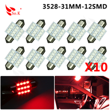 Hot Sale 31mm 12 LED 3528 1210 SMD Festoon Dome C5W Car Auto Interior Lights Reading Bulbs Door Lamp DC 12V