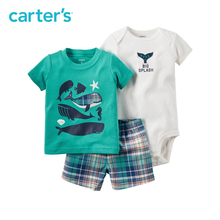 3pcs super cool whale prints tee bodysuit plaid shorts clothing sets Carter s baby boy soft