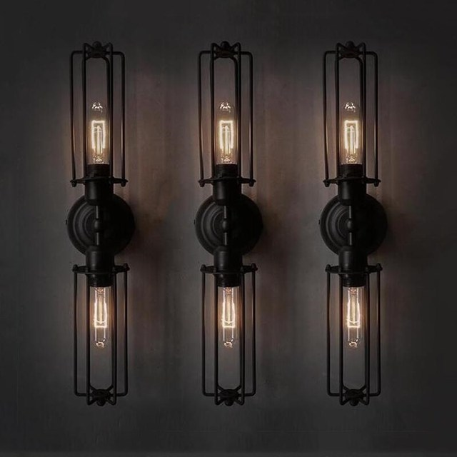 Iron black lampshade wall lamp vintage cage protection light fixture loft light fixture modern indoor lighting wall lamps