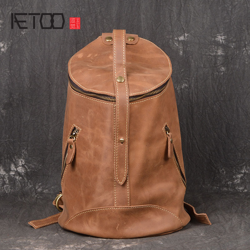 AETOO New lady retro shoulder bag frenzy handmade Baotou layer of leather fashion leisure backpack lady of magick