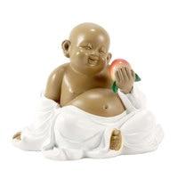 Mini buddha statue Monk figurine Natural ironstones handicraft Decorative sculpture Home accessories Garden decoration (XingFu)