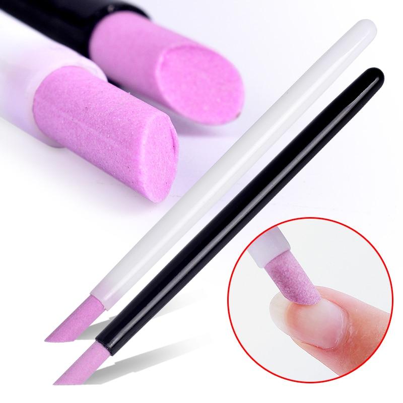 Hot Selling 2020 New Style Black & White Scrub Pen Quartz Manicure Pen Nail Art Carving Pen Brushes Acrylic Handle Salon Tool