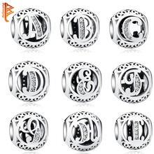 925 Sterling Silver Jewelry Crystal Alphabet A-Z Letter Charms Beads Fit Original Pandora Bracelet Necklace DIY Jewelry Making