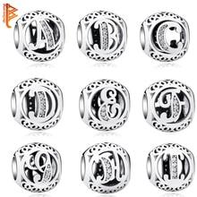 925 Sterling Silver Jewelry Crystal Alphabet A-Z Letter Charms Beads Fit Original Pandora Bracelet Necklace DIY Jewelry Making