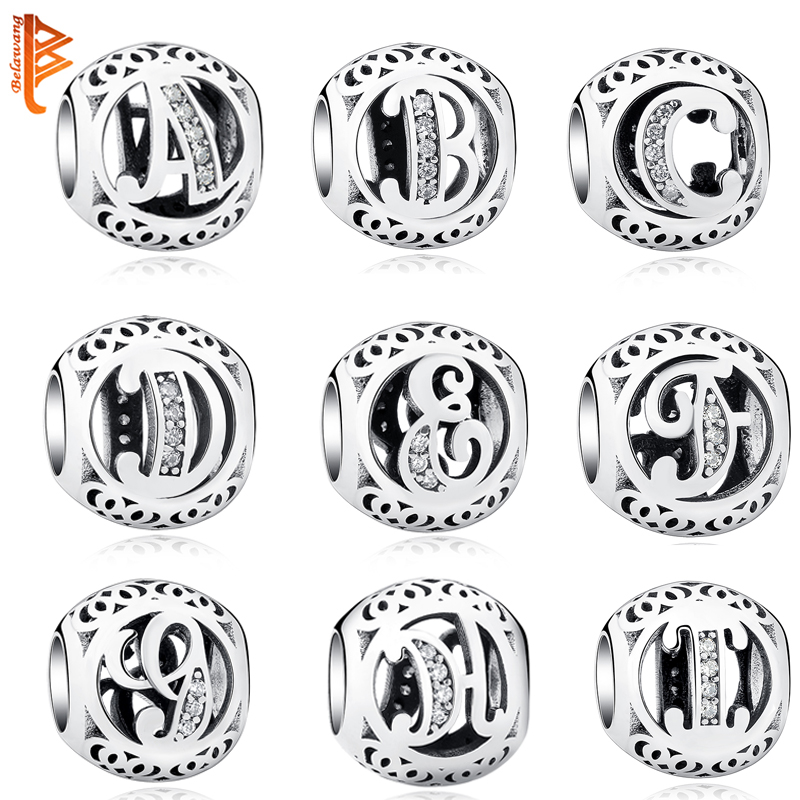 Authentic 925 Sterling Silver Crystal Alphabet A-Z Letter Charms Beads Fit Original Pandora Bracelet Necklace DIY Jewelry Making