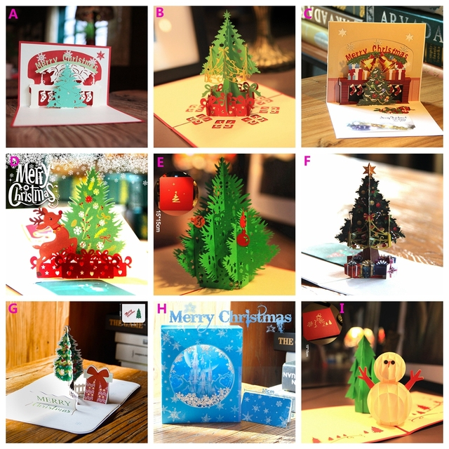 Christmas Cards Pop Up Invitation Greeting Holiday Gifts For Xmas New Year Gift
