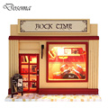DIY Rock Time Shop Model Kit Assemble Miniature Wooden Dollhouse DIY Toys Handmade Educational Toy House Girl Favorite Gift