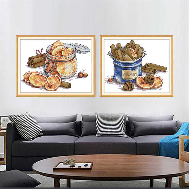 Радость воскресенье лимон и корица Счетный крест DIY 14CT 11CT точные печатные для Вышивка ремесла изделия с вышивкой для домашнего декора