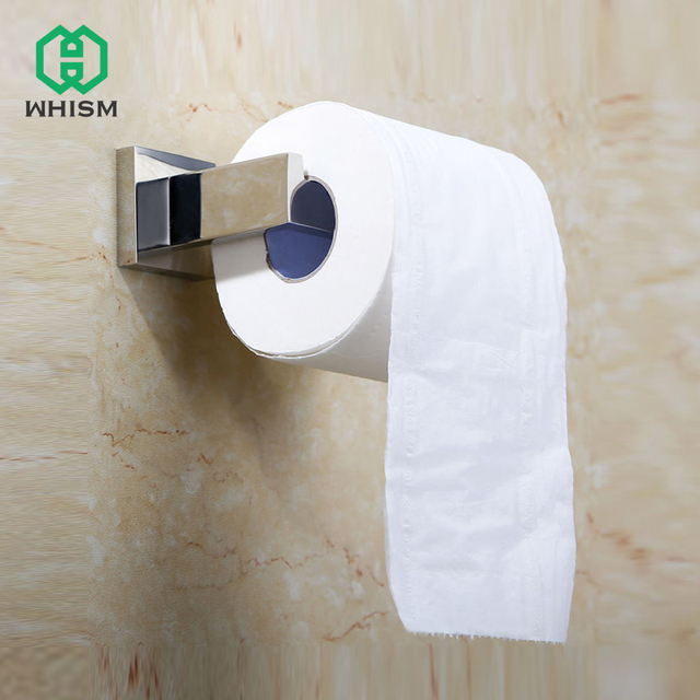 WHISM Stainless Steel Wall Mount Drilling Tissue Rack Roll Paper Towel Hanging Holder Bathroom Toilet Simple Design with Nails
