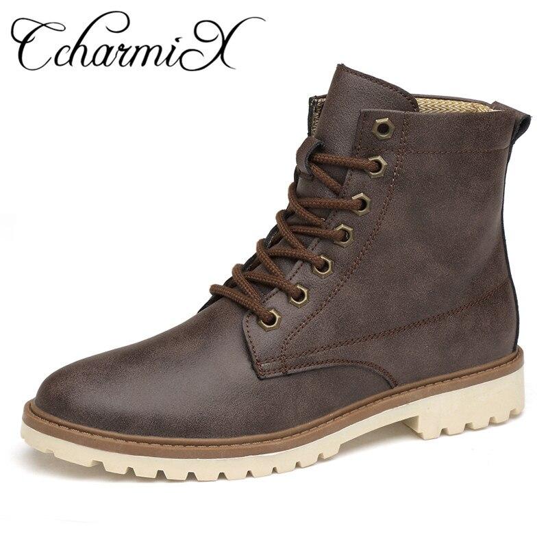 CcharmiX Mens Boots Autumn Spring Leather Man Shoes Lace Up Men Moto Boots High Top Fashion Punk Boots Unisex Plus Size Footwear