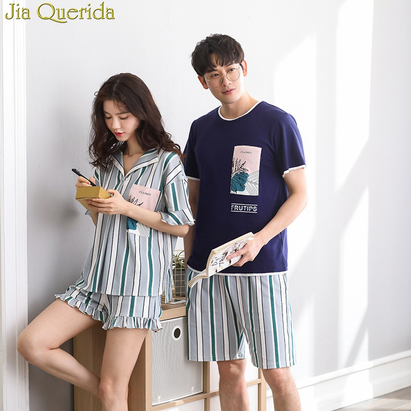J&Q Pyjama Femme 2019 New Shorts Pajamas For Women And Men Leisure Striped Couple Matching Night Suit 100% Cotton Couple Pajamas