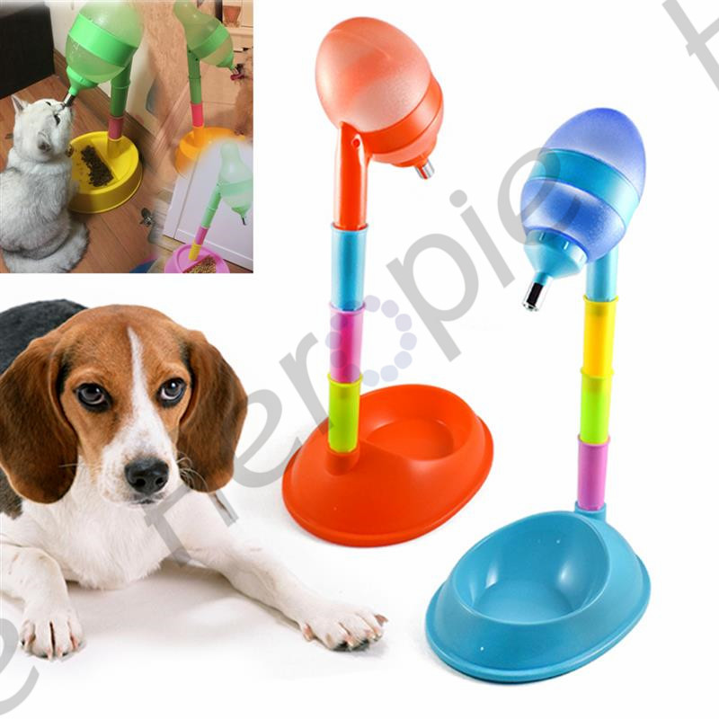 Pet Feeding Accessories Pet Dog Cat Adjustable Plastic Automatic Feeder Water Food Dish Dispenser Drinker Fountain Stand Feeder dog care training collar