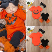 8fade2fd8d New Halloween Orange Clothes Set Kid Baby Girl Romper Tops Leg Warmer  Cotton Nebworn Toddler 3PCS Outfits Children Clothes