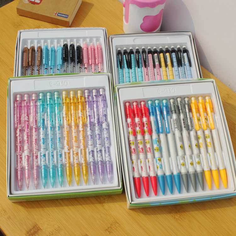 0.5mm 0.7mm Cute Kawaii 6 Design Plastic Mechanical Pencil Cat Automatic Pens For Kids Writing School Supplies Korean Stationery