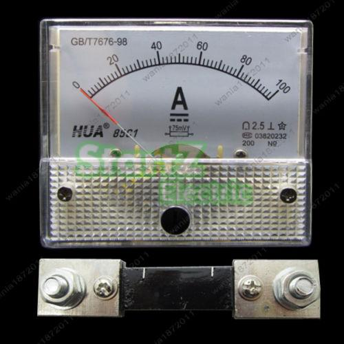 DC 100A Analog Ammeter Panel AMP Current Meter 85C1 Gauge 0-100A DC + Shunt sap 0237