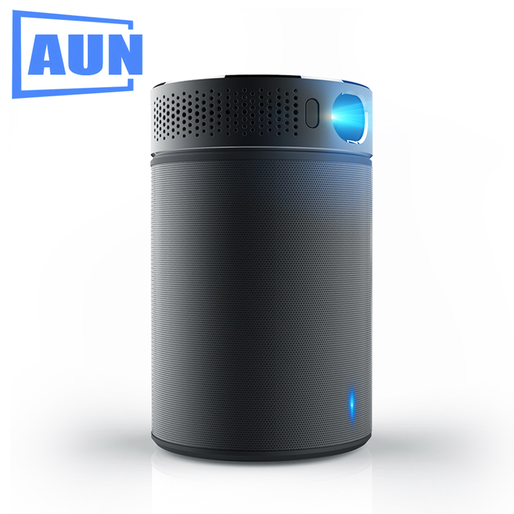 AUN Portable Projector Q8 Set in Android 5.1 WIFI HDMI. 10900mAH Battery Power Bank for LED Projector, Use as Bluetooth Speaker aun q9 portable projector new technology video projector built in android 5 1 wiif bluetooth 3000 mah battery support 1080p