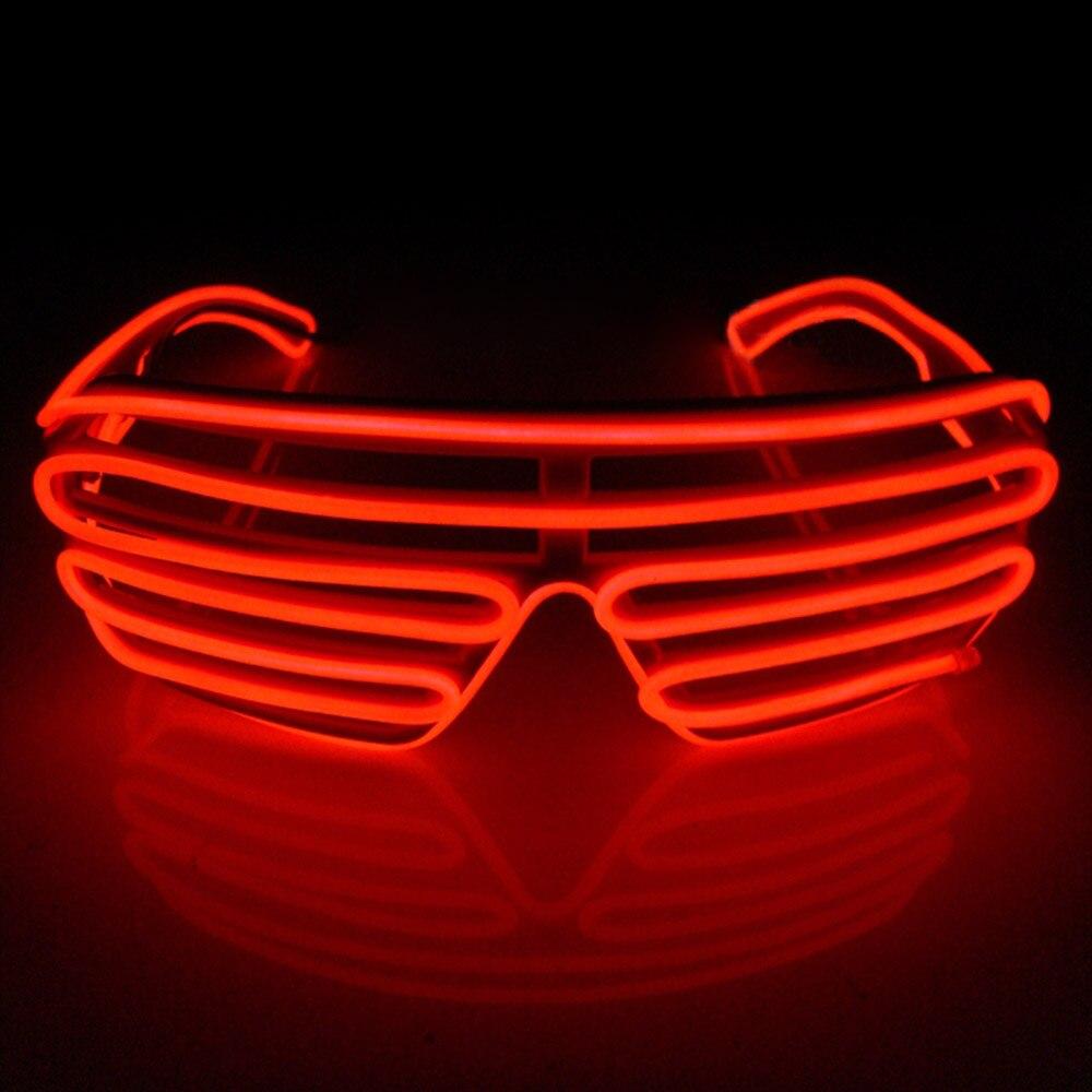 Умный светодиодный пульт дистанционного управления, стекло es, стекло EL Wire, модный неоновый светодиодный светильник в форме затвора, стекло es Rave DJ, яркие вечерние костюмы - Цвет: red