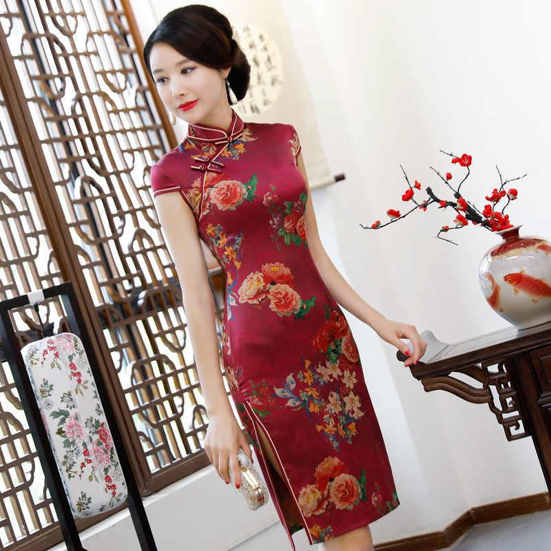 575ef5fdf Detail Feedback Questions about Burgundy Female Classic Qipao Satin Slim  Tight Cheongsam Mandarin Collar Printed Sexy High Split Chinese Dresses  Oversize ...