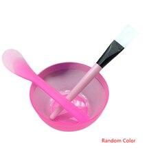 3pcs/set Portable Plastic Facial Mask Bowl Stick Brush Set Mixing Applying Facial Care Makeup Tools Kit Color Random