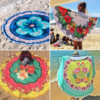 QALRM 2017 Beach Mat Fashion Collection Round Beach Towel Adults Children And Baby For Picnic Towel CEILING Plaid Bandana Dress