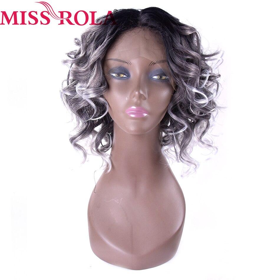 Miss Rola cheveux court argent perruques Kanekalon dentelle avant perruque 12 pouces lâche vague synthétique perruques pour les femmes noires Ombre 1B/gris