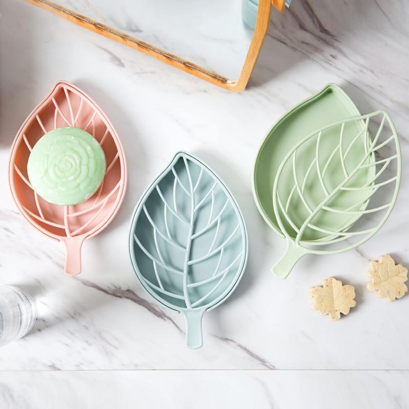 Creative Drain Soap Box Leaf Modeling Soap Holder Bathroom Accessories Soap Dish Storage Basket Box Stand