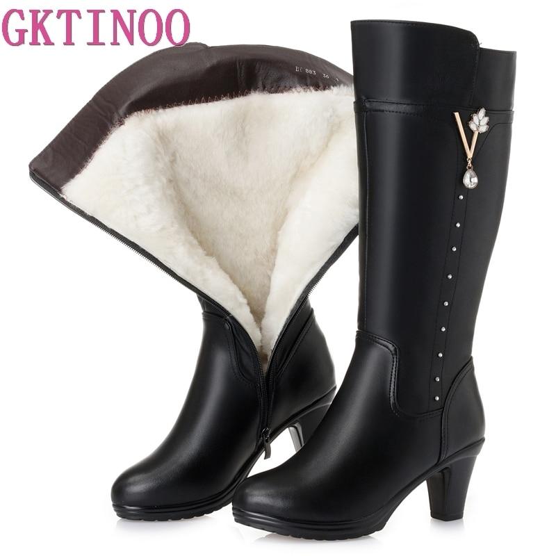 GKTINOO Winter Knee High Boots Warm Wool Fur Shoes Woman High Heels Soft Leather Non slip