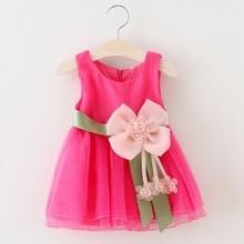 2017 Summer Baby Girls Sleeveless Flower Bow Ball Gown Tutu Dress Kids Voile Party Princess Sundress vestidos roupas de bebe