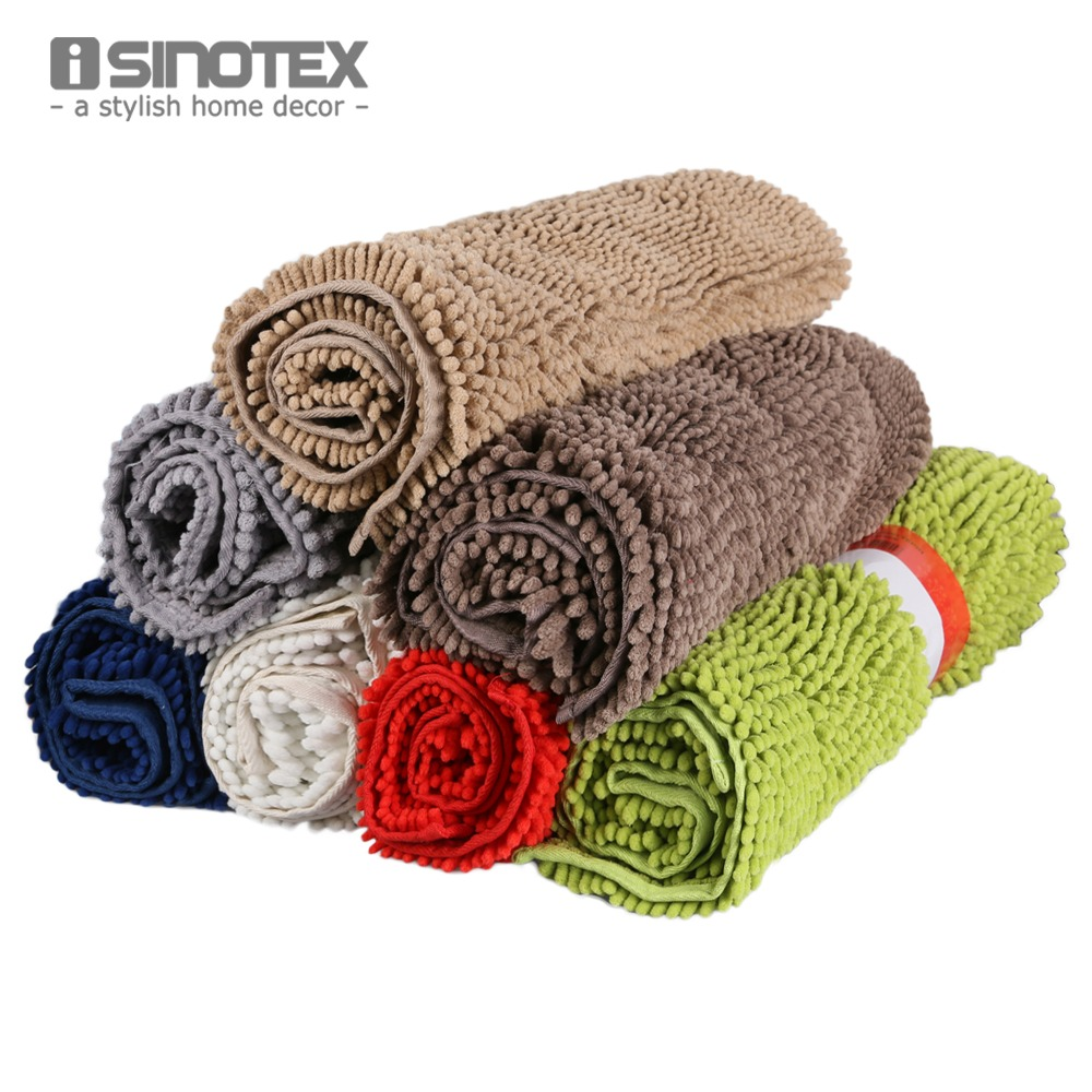 Isinotex Floor Mat Soft Shaggy Water-proof Footcloth Bathroom Bath Mat Floor Carpet Chenille Mat 1pcs/lot Free Shipping 50x80cm