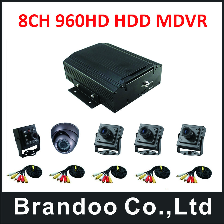 8CH CAR DVR kit, 3pcs square camera, 1pcs mini dome camera, 1pcs square camera with IR led+5pcs video cable.