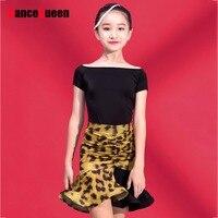 Popular Latin Dancing Tops For Girls Black White Rose Color Short Shirts Female Kid School Children