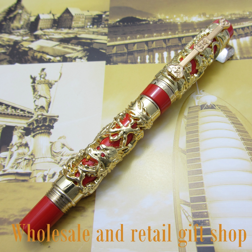 Fountain Pen JINHAO J200 Dragon and Phoenix Antique Gold and Red Screw Heavy pen Chinese auspicious dragon fountain pen jinhao j200 dragon and phoenix antique gold and red screw heavy pen chinese auspicious dragon