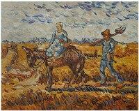 高品質ヴィンセントヴァンゴッホキャンバスアート農民カップル仕事に行く風景油絵キャンバス非フレーム