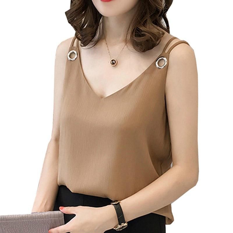 summer chiffon women blouse shirt new 2018 fashion sleeveless sexy strap women's tops solid V neck plus size clothing