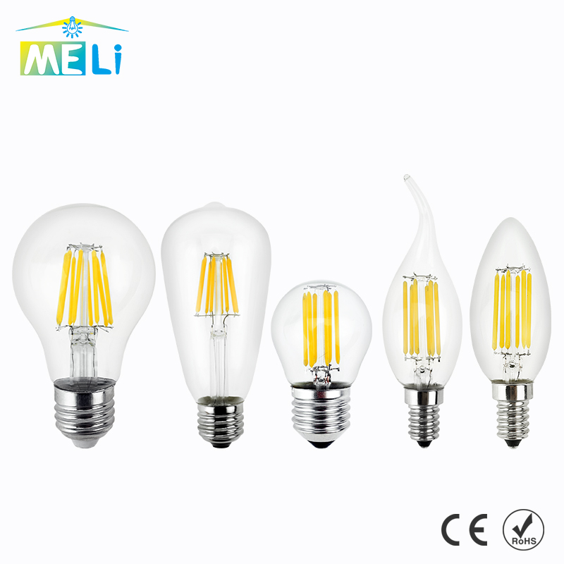 Antique Retro Vintage LED Edison Bulb E27 LED Bulb E14 Filament Light 220V Glass Bulb Lamp 4W 8W 12W 16W Candle Light Lamp lumiparty antique light bulb classical edison bulb e27 8w filament tubular nostalgic filament incandescent home lamp